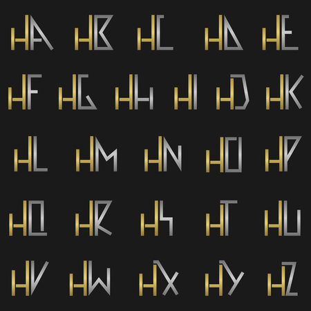 hf: H and other alphabet letters monogram Illustration