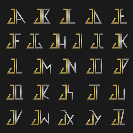 letters gold: J and other alphabet letters monogram