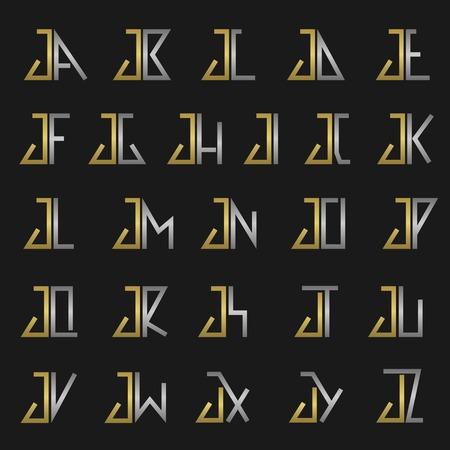 letras de oro: J y otras letras del alfabeto del monograma