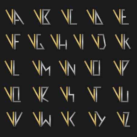 vw: V and other alphabet letters monogram Illustration