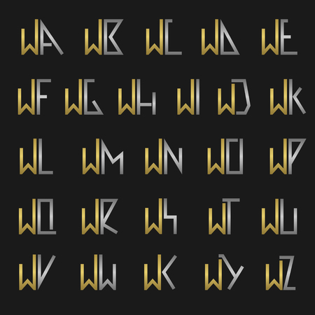 W and other alphabet letters monogram Illustration