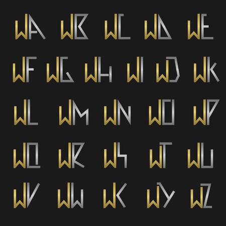 W 및 기타 알파벳 글자 모노그램 일러스트