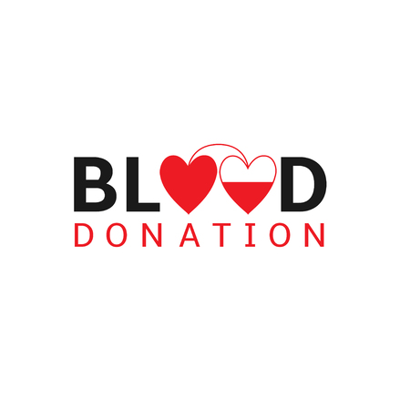 transfuse: Blood donation logo with red hearts, Vector illustration