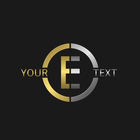 e business: Letter E Business round with golden and silver elements for your company brand Illustration
