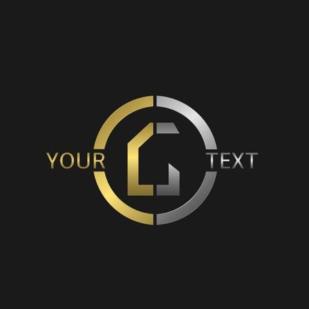 Lettre ronde G affaires avec des éléments d'or et d'argent pour votre marque de l'entreprise