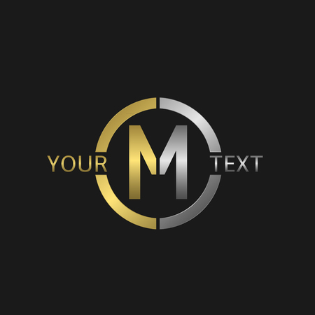 metal letters: Letter M Business round with golden and silver elements for your company brand