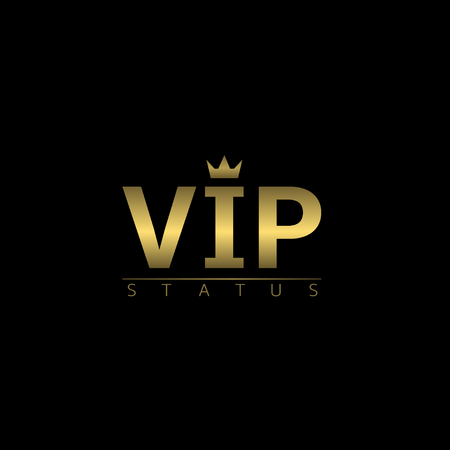 celebrities: VIP status golden icon with crown. Vector illustration