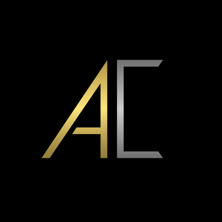 business letters: Golden A and silver C letters template for your business company Illustration