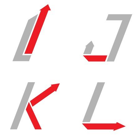 l red: Grey I J K L letters with red arrows. sign set, Motion concept Illustration