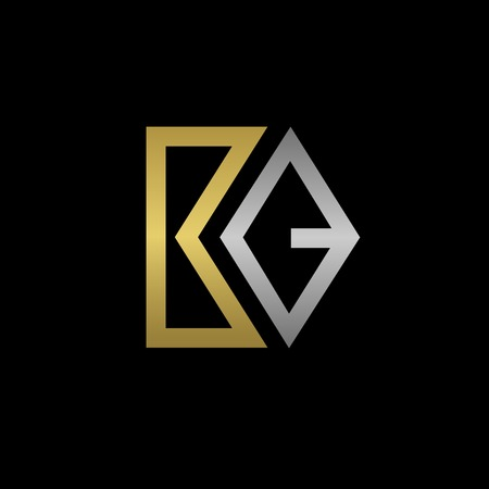 business symbol: Golden B and silver Q letters logo template for your business company