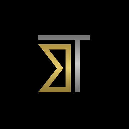 business symbol: Golden B and silver T letters logo template for your business company Illustration