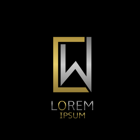 Golden C and silver W letters logo template for your business company