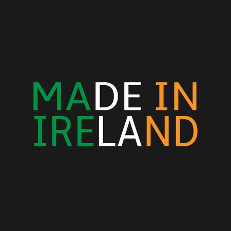 made manufacture manufactured: Made in Ireland text on black background. Vector illustration
