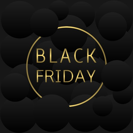 holiday profits: Golden black friday text on black abstract background