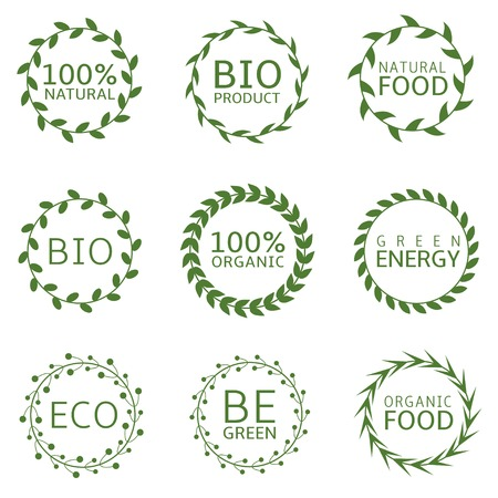 be green: Eco concept label set. Bio product. Natural food. 100% natural. 100% organic. Green energy. Organic food. Be green