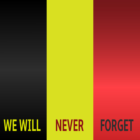 mourn: We will never forget text on Belgium flag background