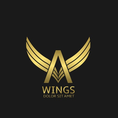 Golden A letter  template with golden wings
