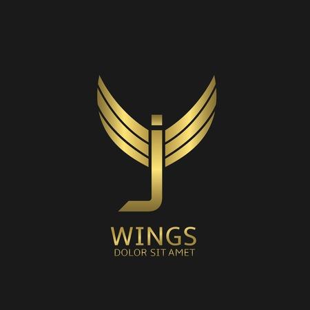elegant template: Golden J letter logo template with golden wings Illustration