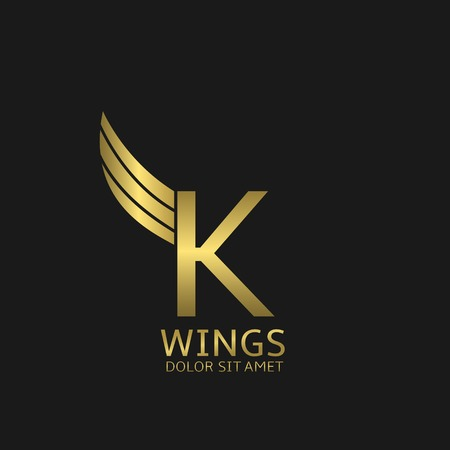 Golden K letter  template with golden wings