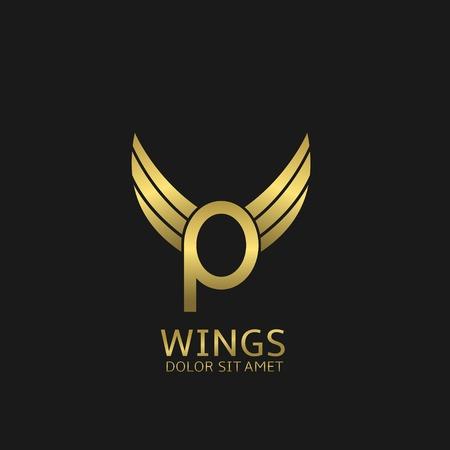 Goldene P Briefvorlage mit goldenen Flügeln