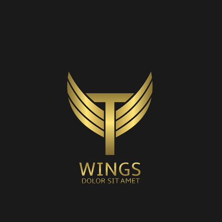 Golden T letter logo template with golden wings