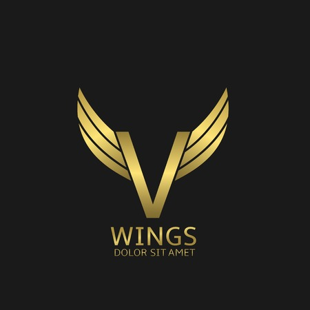 wings bird: Golden V letter  template with golden wings