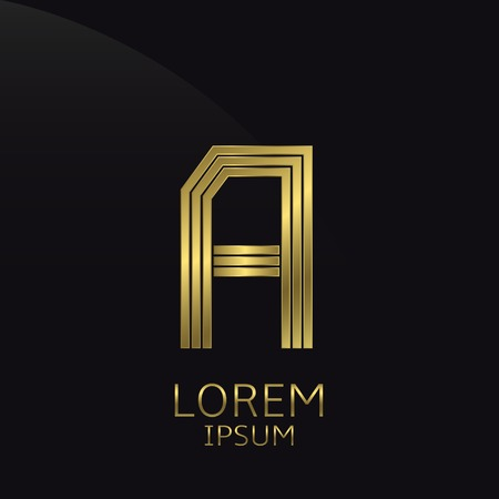type bar: Golden metal letter A . Gold. Luxury symbol. Business company . Vector illustration