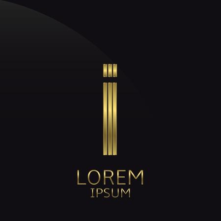 letter i: Golden metal letter I . Gold. Luxury symbol. Business company . Vector illustration Illustration