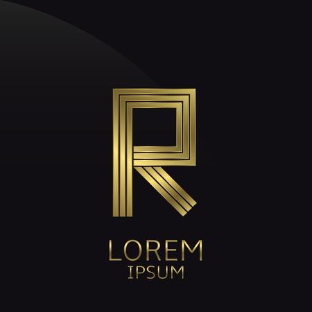 Golden metal letter R . Gold. Luxury symbol. Business company . Vector illustration