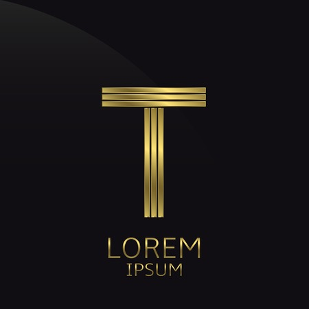 t bar: Golden metal letter T . Gold. Luxury symbol. Business company . Vector illustration