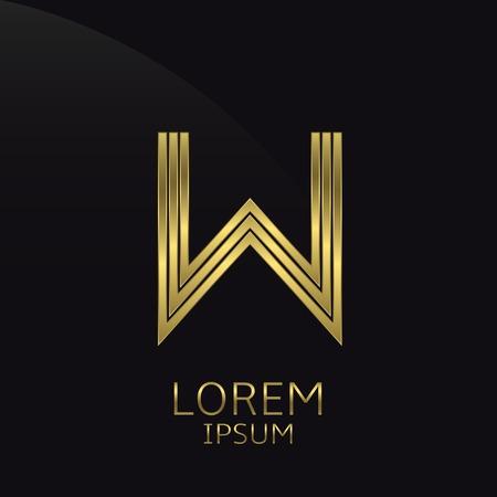 letras de oro: Oro letra W metálico. Oro. símbolo de lujo. Compañía de negocios . ilustración vectorial Vectores