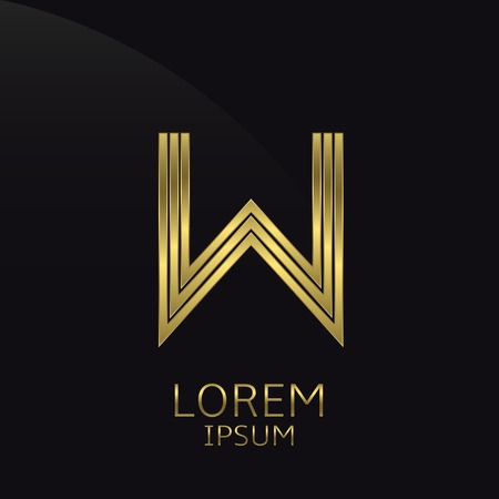 Golden metal letter W . Gold. Luxury symbol. Business company . Vector illustration
