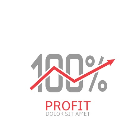 excess: Profit label. Red arrow Business sign Vector illustration