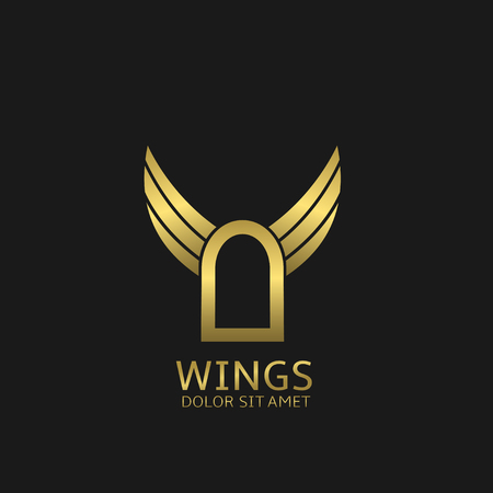 elysium: Golden Door and wings. Paradise symbol, Vector illustration