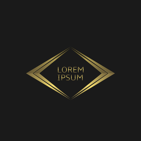 Icône logo doré. Concept de luxe, illustration vectorielle