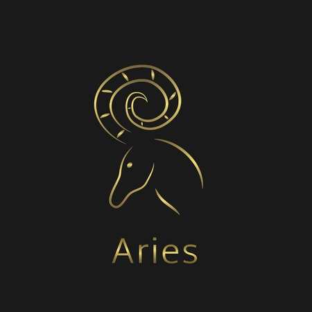 aries zodiac: Aries Zodiac sign. Aries abstract symbol. Aries golden icon