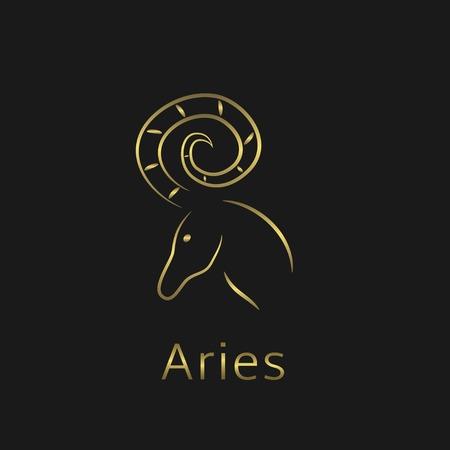 signes du zodiaque: signe du B�lier Zodiac. Aries symbole abstrait. Aries ic�ne dor�e Illustration