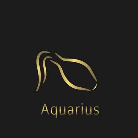 Aquarius Zodiac sign. Aquarius abstract symbol. Aquarius golden icon