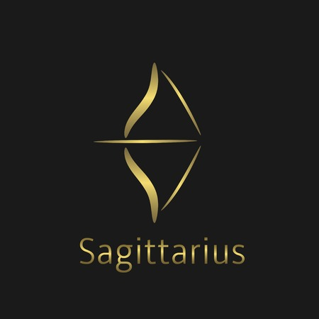 foretell: Sagittarius Zodiac sign. Sagittarius abstract symbol. Sagittarius golden icon. Bow sign. Golden bow symbol with arrow Illustration