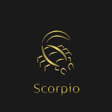foretell: Scorpio Zodiac sign. Scorpio abstract symbol. Scorpio golden icon. Scorpion astrology symbol