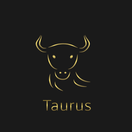 foretell: Taurus Zodiac sign. Taurus abstract symbol. Taurus golden icon. Bull symbol. Golden bull sign