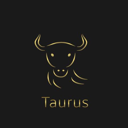 prophecy: Taurus Zodiac sign. Taurus abstract symbol. Taurus golden icon. Bull symbol. Golden bull sign