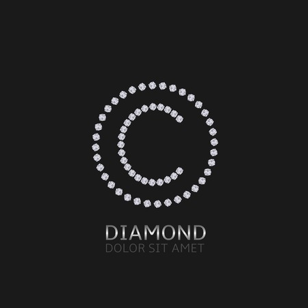 expensive: C Letter with diamonds. Expensive, presious symbol. Illustration