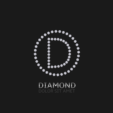 expensive: D Letter with diamonds. Expensive, presious symbol. Illustration