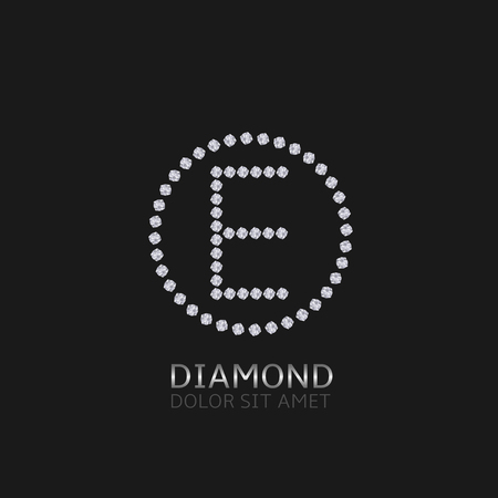 is expensive: E Letter with diamonds. Expensive, presious symbol.
