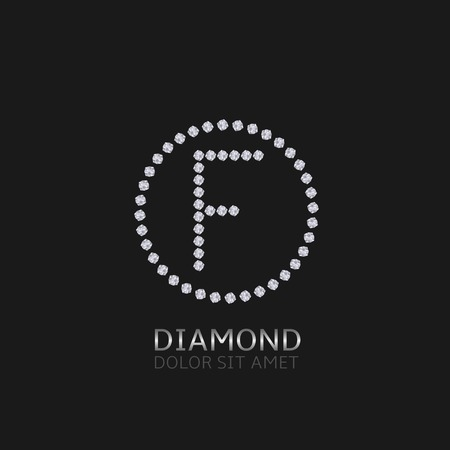 expensive: F Letter with diamonds. Expensive, presious symbol.