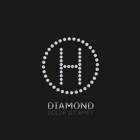 expensive: H Letter with diamonds. Expensive, presious symbol.