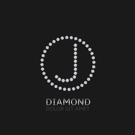 expensive: J Letter with diamonds. Expensive, presious symbol.