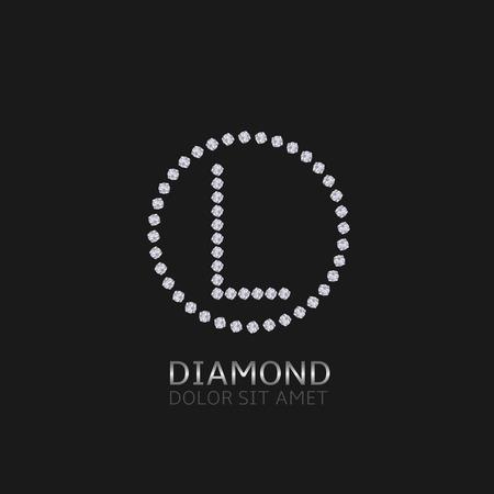 L Letter with diamonds. Expensive, presious symbol. Ilustração