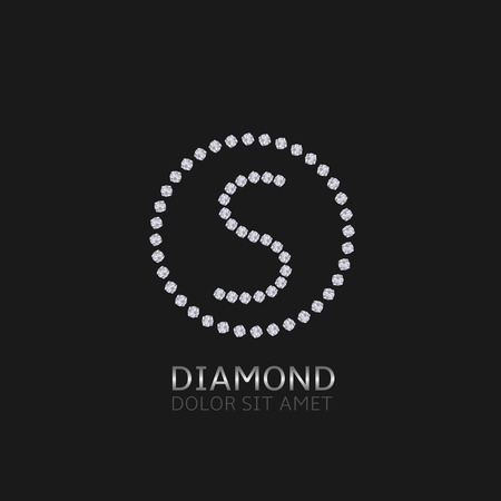 expensive: S Letter with diamonds. Expensive, presious symbol.